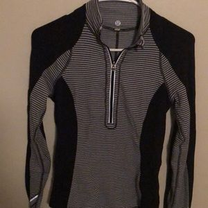 Black and white zip up half hoodie Lululemon